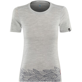 Odlo BL Alliance SS Top Crew Neck Women grey melange-leaves on waist print SS19